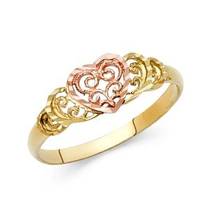 14K Yellow Gold with Rose Gold Heart Promise Ring